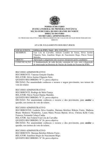 Resultado dos recursos - Justiça Federal do Rio Grande do Norte