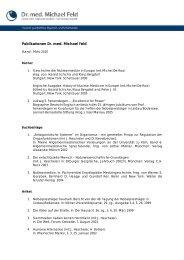 Publikationen Dr. med. Michael Feld