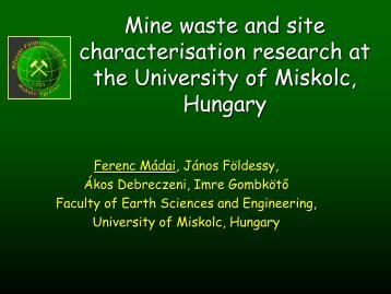 Mine waste and site characterisation research at the University of ...
