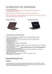 Acer Aspire One 521 im Test – Zusammenfassung ... - Snogard
