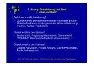 7. Sitzung: Globalisierung und Staat I.