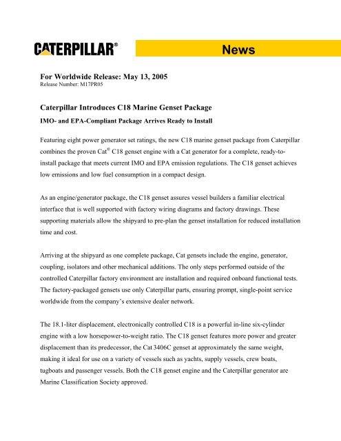 for worldwide release may 13, 2005 marine engines caterpillar Newage Stamford Generator Wiring Diagram
