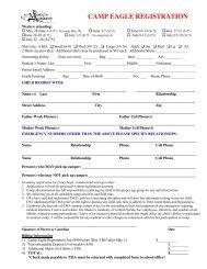 CAMP EAGLE Registration Form - Athletics