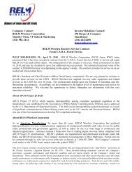 RELM Wireless Receives Service Contract from U.S.D.A. Forest ...