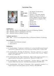his CV - Mahidol University