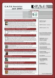 Die C.A.T.S. Newsletter Juli 2007 gibt es auch -  CATS Software GmbH