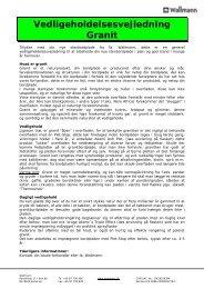 Vedligeholdelsesvejledning Granit og Qva... - Wallmann A/S
