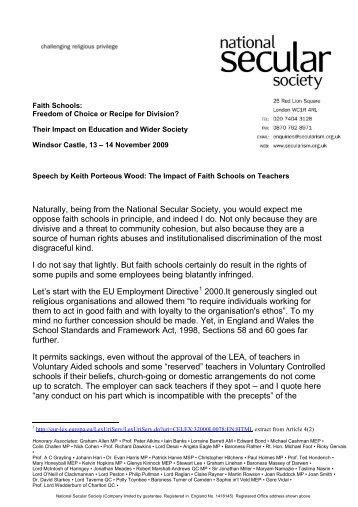 The Impact of Faith Schools on Teachers - National Secular Society