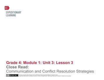 Grade 4 ELA Module 1, Unit 3, Lesson 3 - EngageNY