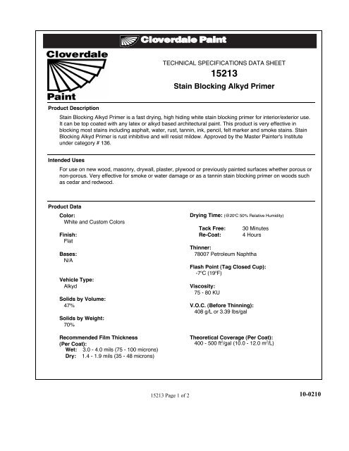 View Technical Data Sheet (PDF) 10-0210 - Cloverdale Paint