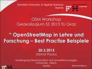 OpenStreetMap in Lehre und Forschung - Institut für GEOinformation
