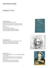 Bildlegenden / Credits - Kunstmuseum Basel