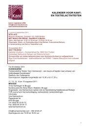 kalender voor kant- en textielactiviteiten - Kant in Vlaanderen
