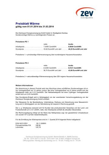 Preisblatt Wärme - ZEV Zwickauer Energieversorgung GmbH