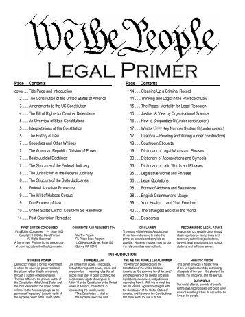 We the People Legal Primer - Prison Book Program
