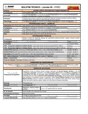 BOLETIM TÉCNICO – (versão 05 - 1112*) - Suvinil