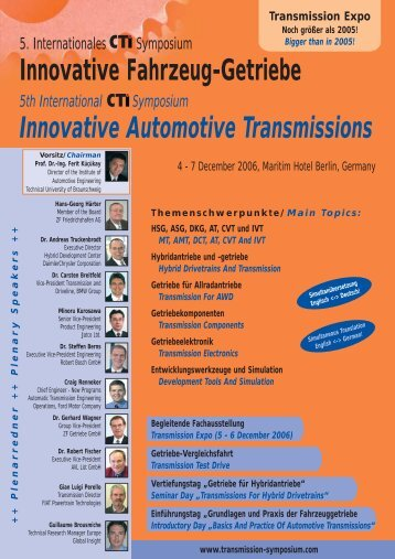 TRANSMISSION EXPO 5 AND 6 DECEMBER 2006