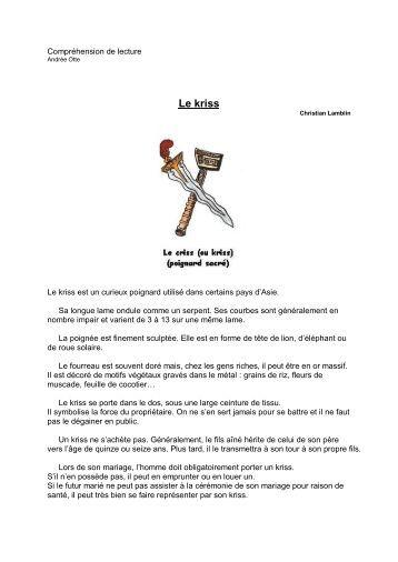 Compréhension de lecture Le kriss - Professeur Phifix