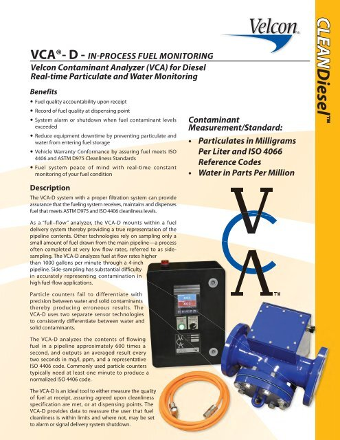 View VCA ® -D Datasheet - PDF - Velcon Filters