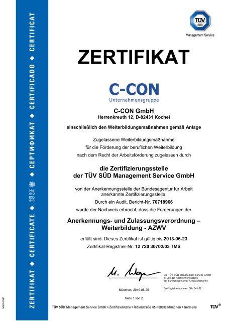 Anerkennungs- und Zulassungsverordnung ... - C-Con GmbH