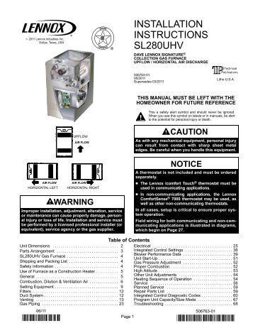 Lennox Sl280uhv Manual De Instalacion - ercartiolog ml