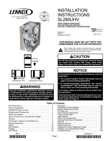 Lennox g20 installation manual
