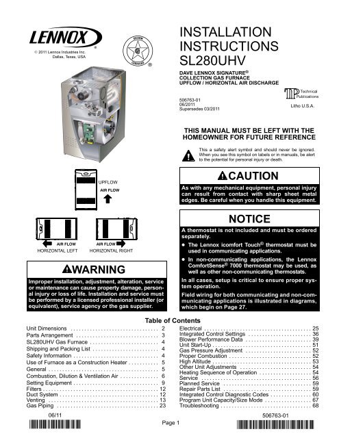 SL280UHV Gas Furnace Installation Manual - Lennox on