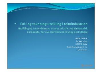 FoU og teknologiutvikling i tekoindustrien - Sintef