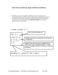 SOLVING RATIONAL EQUATIONS EXAMPLES