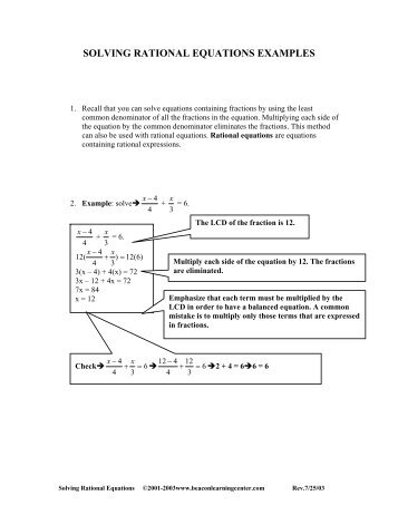 Printables Solving Rational Equations Worksheet solving rational equations worksheet beacon learning center answers learning