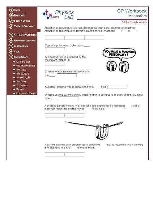 Magnetism Worksheet - Schaumburg High School