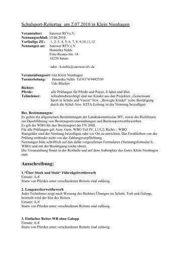 Ausschreibung - Pferdesportverband-MV