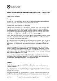 Gütsch Wochenende der Mädchenriege 2 und 3 vom 9. – 11.11.2007