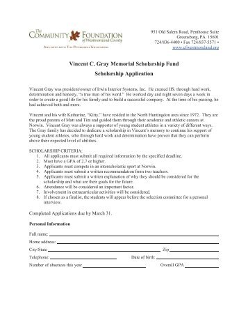 Vincent C. Gray Memorial Scholarship Fund Scholarship Application