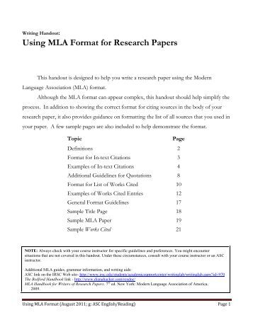 research paper example mla