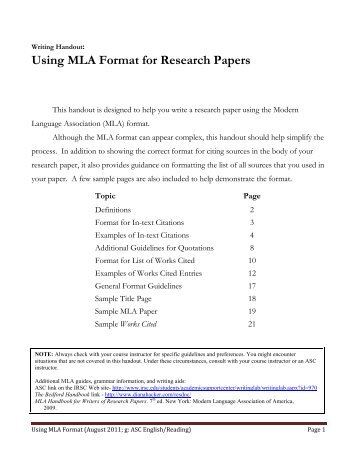 what is the mla format paper format richland college