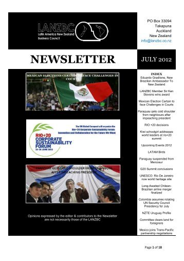 NEWSLETTER - Latin America New Zealand Business Council