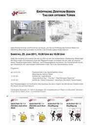 eröffnung zentrum bären tag der offenen türen , 25. j uni 2011, 10.00 ...