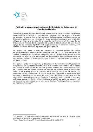 Retirada la propuesta de reforma del Estatuto de Autonomía de ...