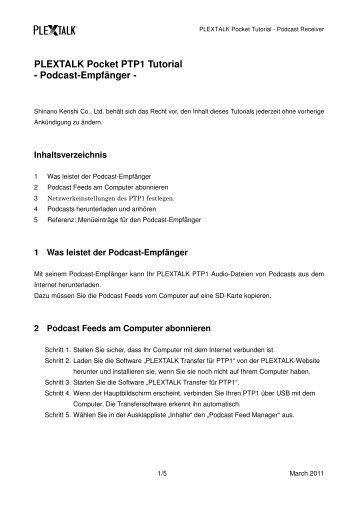 PLEXTALK Pocket PTP1 Tutorial - Podcast-Empfänger -