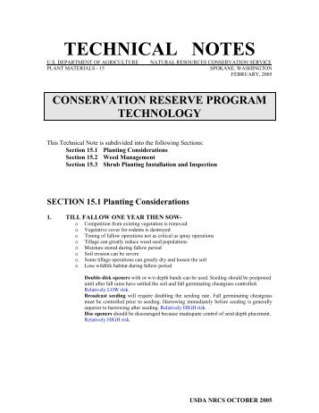 TECHNICAL NOTES - Plant Materials Program - US Department of ...
