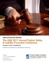 The ASQ 2011 Annual Product Safety & Liability Prevention ...