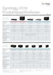 Synology 2012 Produktspezifikationen - Storesys