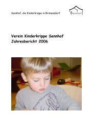 Verein Kinderkrippe Sennhof Jahresbericht 2006