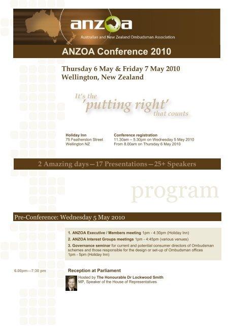 Programme - Australian and New Zealand Ombudsman Association ...