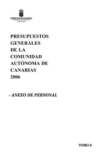 Anexo de Personal para 2006 - Gobierno de Canarias