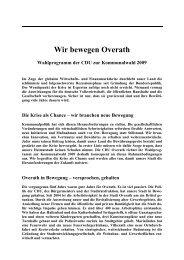 Entwurf Wahlprogramm 2009 - CDU Overath
