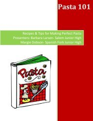 Recipes & Tips for Making Perfect Pasta Presenters: Barbara Larsen ...