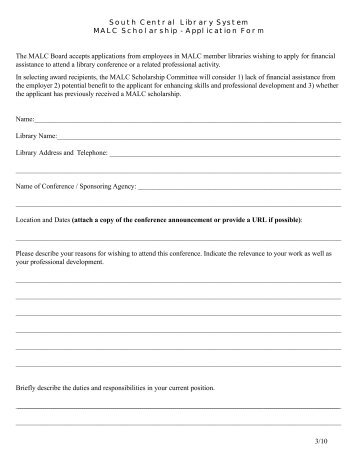MALC Scholarship Application - South Central Library System