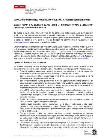 Izjava o spoÃ…Â¡tovanju kodeksa upravljanja javnih delniÃ…Â¡kih ... - Petrol